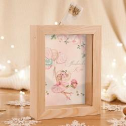 SKARBONKA drewniana na prezent świąteczny z szybką Z IMIENIEM Ballerina