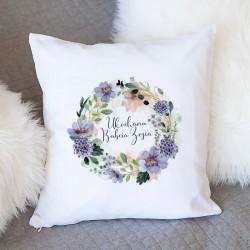 PREZENT na Dzień Babci poduszka Fioletowe Kwiaty Z IMIENIEM