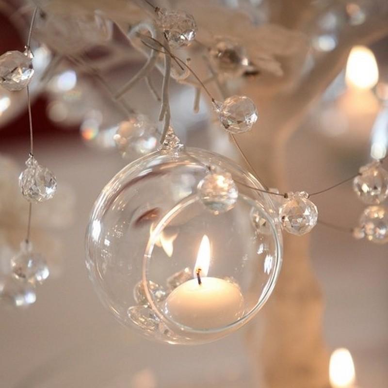 Świecznik komunijny szklana bombka
