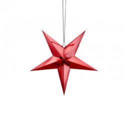 DEKORACJA świąteczna Gwiazda papierowa CZERWONA 30cm