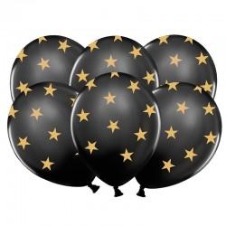 BALONY sylwestrowe czarne w gwiazdki 6szt