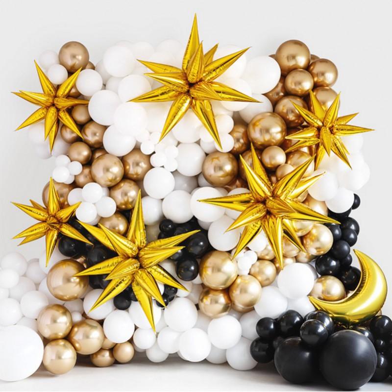 Złote balony na sylwestra w kształcie przestrzennej gwiazdy