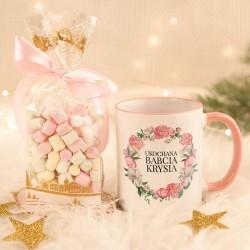 PREZENT na Dzień Babci kubek + pianki Marshmallow Z IMIENIEM Różowy Wianuszek