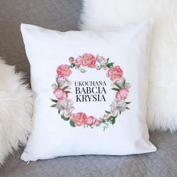 PREZENT na Dzień Babci poduszka Różowy Wianuszek Z IMIENIEM