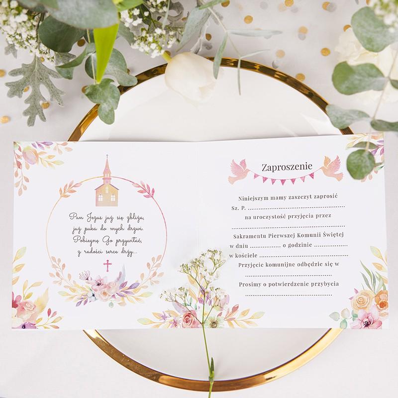 Zaproszenia Komunijne Pastelowy Kościół Z Dziewczynką 10szt