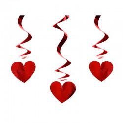 DEKORACJA na Walentynki świderki serca CZERWONA