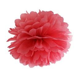 POMPON z bibuły na Walentynki 25cm CZERWONY