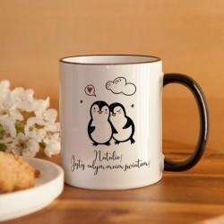 PREZENT na Walentynki kubek Z IMIENIEM Pingwinki