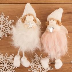 DEKORACJA świąteczna Aniołek z futerkiem 23cm 2 KOLORY