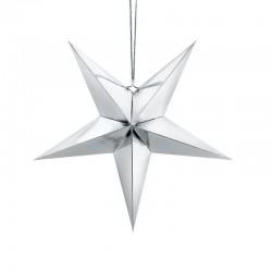 DEKORACJA świąteczna Gwiazda papierowa SREBRNA 45cm