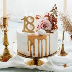 ŚWIECZKA na 18 urodziny brokatowa ZŁOTA