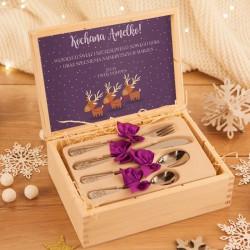 PREZENT świąteczny dla dziecka Sztućce dziecięce Mikołaj i renifery Z IMIENIEM