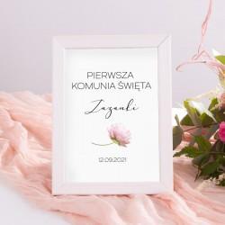 DEKORACJA na stół komunijny tabliczka Romantyczna Piwonia (+ramka)