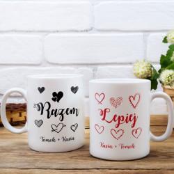 KUBKI prezent na Walentynki dla par Z IMIONAMI Razem Lepiej