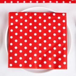 SERWETKI na Walentynki czerwone w groszki 33x33cm 20szt