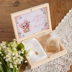 PREZENT na Walentynki w pudełku Miś Bransoletka Pozłacana