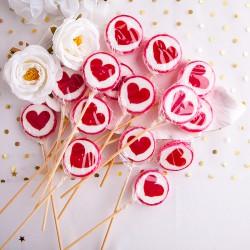 LIZAKI na Walentynki z sercem 24cm 15szt