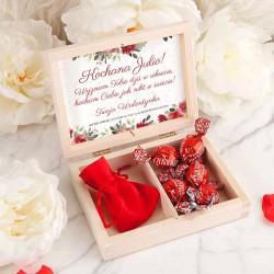 PREZENT na Walentynki skrzyneczka z bransoletką z sercem POZŁACANA kwiaty