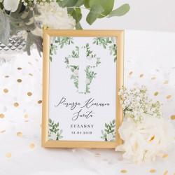 TABLICZKA na stolik na Komunię Delikatne Kwiaty (+złota metalowa ramka)
