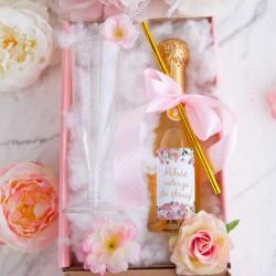 PREZENT na Walentynki w pudełku Z IMIENIEM LUX wino+kieliszek Różowe Kwiaty
