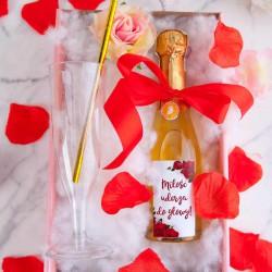 PREZENT na Walentynki w pudełku Z IMIENIEM LUX wino+kieliszek Czerwone Róże
