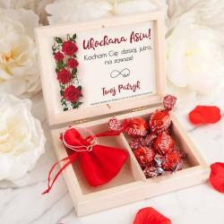 PREZENT na Walentynki w pudełku Róże Bransoletka Nieskończoność POZŁACANA