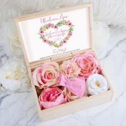 PREZENT na Walentynki skrzyneczka z bransoletką POZŁACANA kwiatowe serce LUX