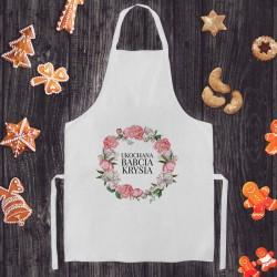 FARTUCH kuchenny na Prezent na Dzień Babci Z IMIENIEM Różowy Wianuszek