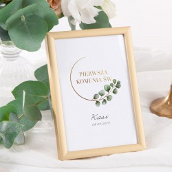 DEKORACJA na stół komunijny/chrzest tabliczka Eukaliptus (+złota metalowa ramka)