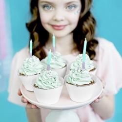 ŚWIECZKI na tort urodzinowe OMBRE z brokatem 20szt