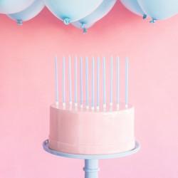 ŚWIECZKI na tort urodzinowy Wysokie 14cm BŁĘKITNE 12szt