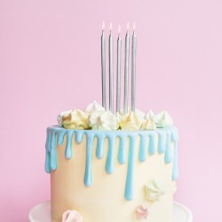 ŚWIECZKI na tort urodzinowy 12cm 12szt SREBRNE