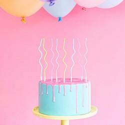 ŚWIECZKI na tort urodzinowy zakręcone 14cm MIX 8szt