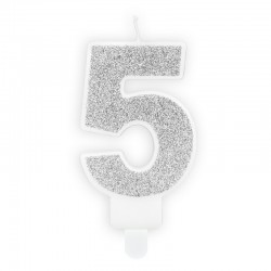 ŚWIECZKA na tort urodzinowa cyfra 5 SREBRNA