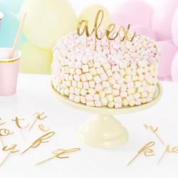 TOPPERY na tort i muffinki ALFABET Złote 53szt
