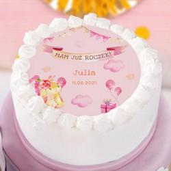 OPŁATEK na tort Roczek dziewczynki Różowy Króliczek Z IMIENIEM Ø20cm