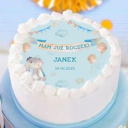 OPŁATEK na tort Roczek chłopca Niebieski Króliczek Z IMIENIEM Ø20cm