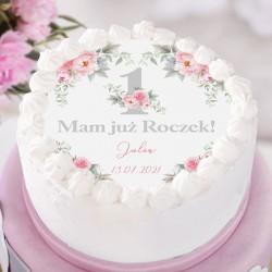 OPŁATEK na tort Roczek Kwiatowa Jedynka Z IMIENIEM Ø20cm