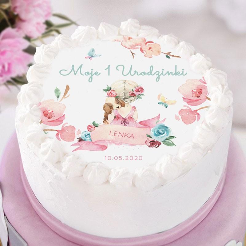 Opłatek na tort na Roczek dla dziewczynki