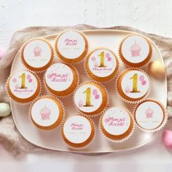 OPŁATKI na muffinki na Roczek Z IMIENIEM Różowo-Złota Jedynka 12szt