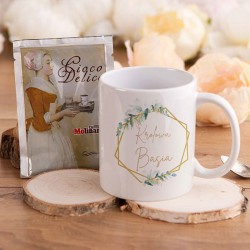 PREZENT na Dzień Kobiet kubek + kawa Z IMIENIEM Botaniczny