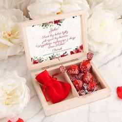 PREZENT na Dzień Kobiet skrzyneczka z bransoletką z sercem POZŁACANA kwiaty