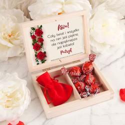 PREZENT na Dzień Kobiet skrzyneczka z bransoletką nieskończoność POZŁACANA róże