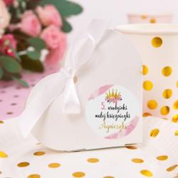 PUDEŁECZKA serca na Roczek i Urodziny dziecka Mała Księżniczka (+etykiety z imieniem+białe wstążki) 10szt