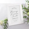 DEKORACJA na stół komunijny tabliczka Lily of the Valley (+ biała ramka)