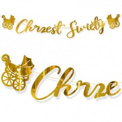 BANER girlanda na Chrzest Święty BŁYSK Złoty Wózeczek