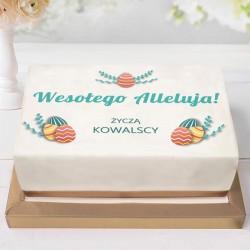 OPŁATEK na ciasto Z TWOIM PODPISEM na Wielkanoc 21x30cm Pisanki