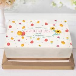OPŁATEK na ciasto Z TWOIM PODPISEM na Wielkanoc 21x30cm Jajeczka i kwiaty
