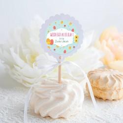 PIKERY do muffinek na Wielkanoc Jajeczka i kwiaty Z TWOIM PODPISEM 10szt (+naklejki)