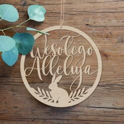 DEKORACJA na Wielkanoc obręcz drewniana Wesołego Alleluja